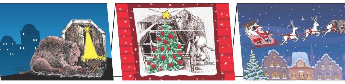 Buffalo-themed Christmas and note cards