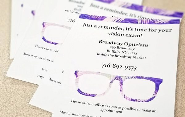 Broadway Opticians Reminder Postcard